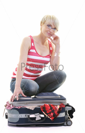 woman with travel bag