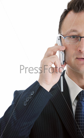 one businessman with cellphone isolated on white