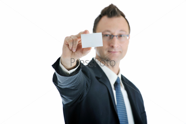 young businessman with empty white card
