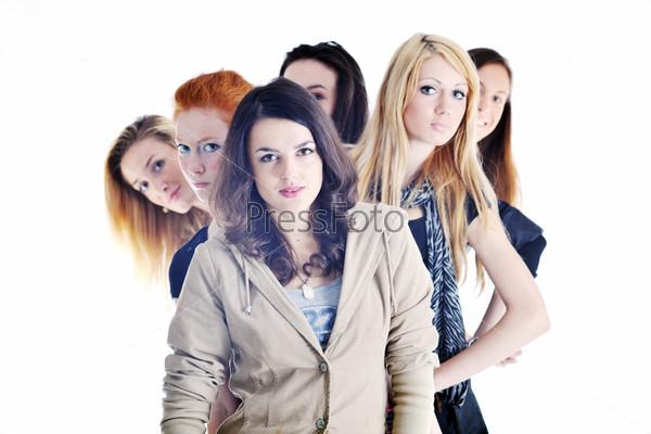 Красивые стильные девушки на белом фоне