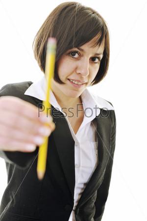 bosiness woman choosing perfect pencil