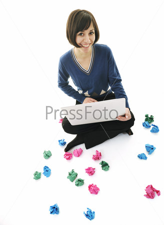 young woman isolated on white looking for solutions