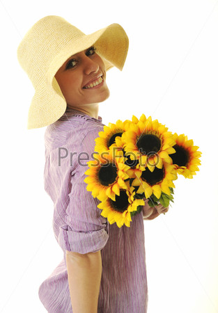 woman with sunflower isolated on white