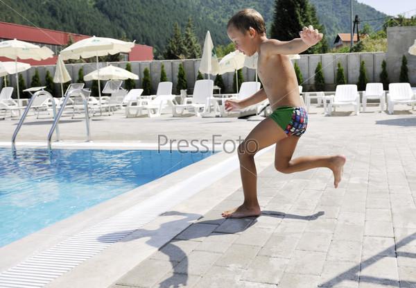 children on swimming pool
