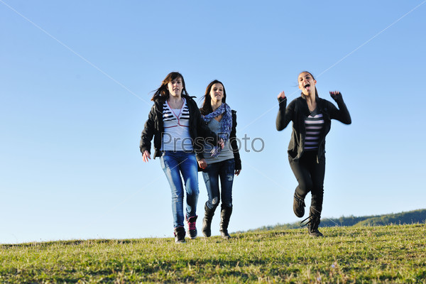 group of teens have fun outdoor