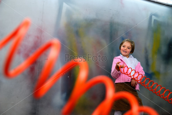 Cute little girl having fun