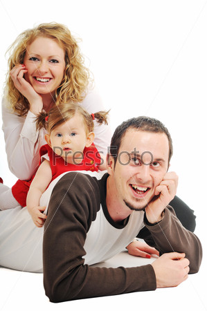 happy young family together in studio