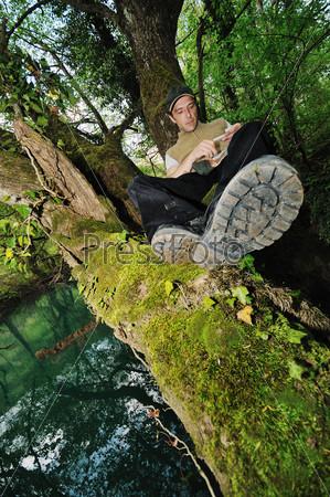 man relaxing outdoor