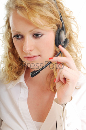 business blonde woman with headset