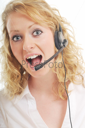 business woman headset