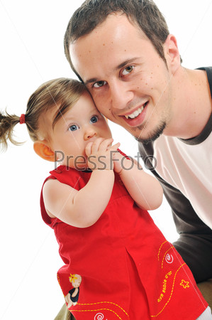 young father  play with beautiful daughter