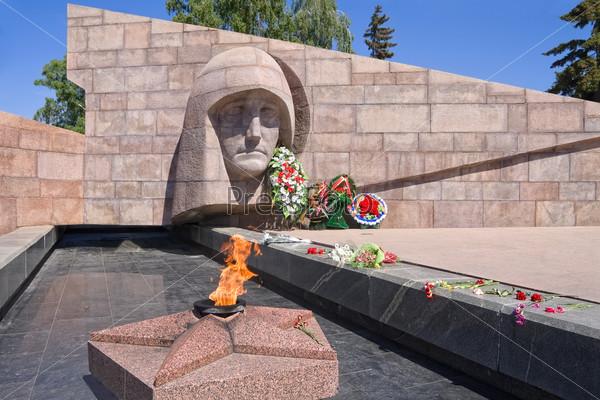 The eternal fire in the memorial complex of city Samara, Russia