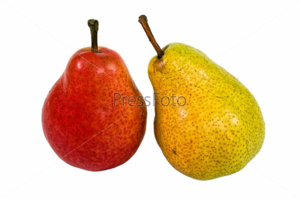 Yellow and red pears isolated on white background