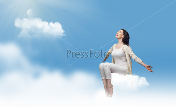 sitting on a cloud