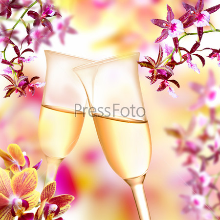 Orchid and champagne flutes