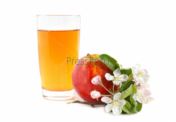 Juice and apple with flowers