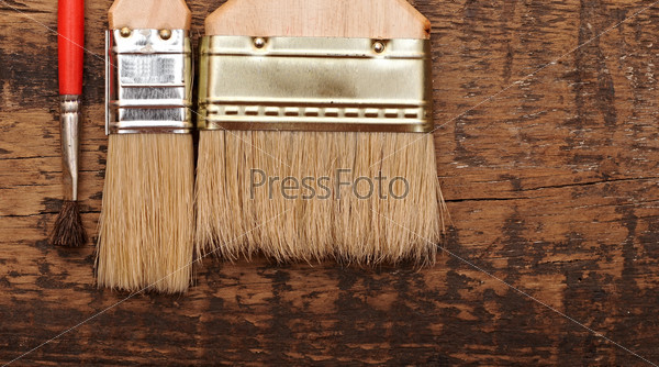 brush on wood background texture