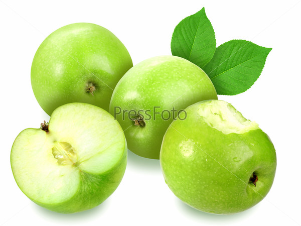 Apples with green leaf