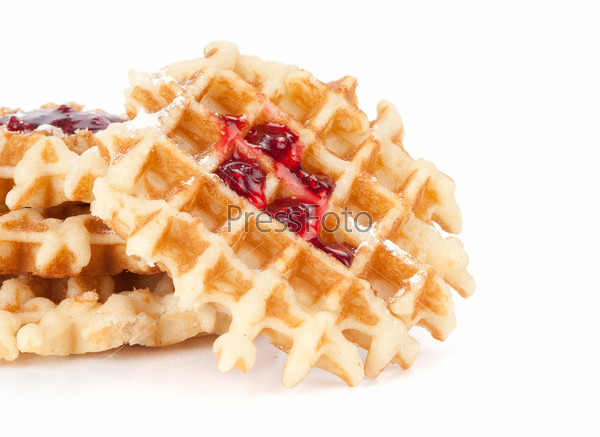 waffles with jam isolated on white