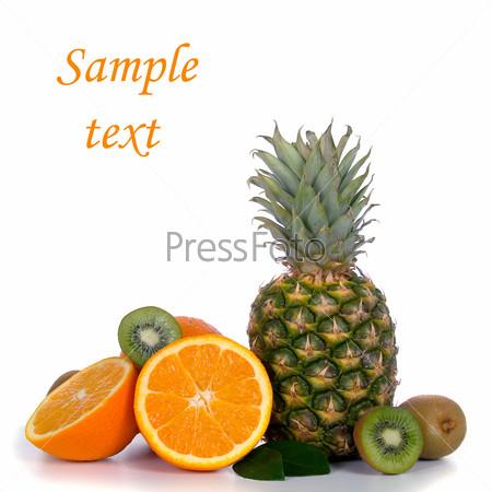 Pineapple, oranges and kiwi
