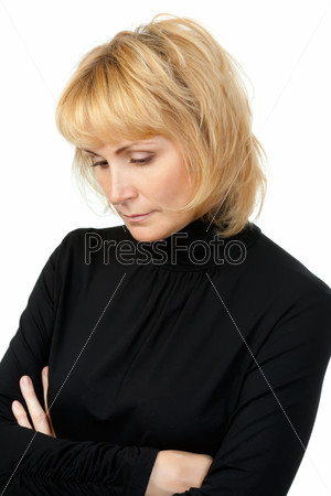 portrait of a girl dressed in black, sad looks away