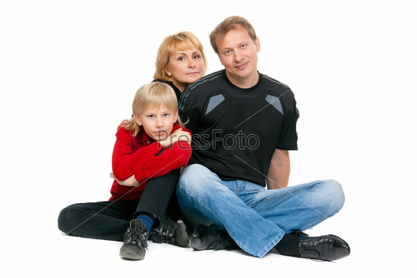 happy family sitting in the lotus position