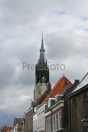 The spire of the New Church , Delft,  Netherlands