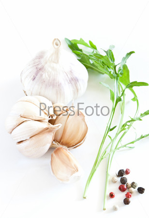garlics on white