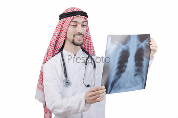 Arab doctor examining x-ray print