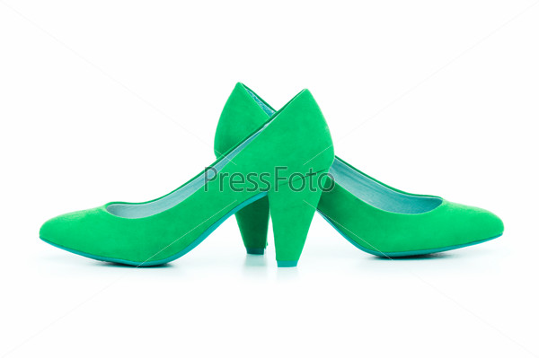 Green Female shoes in fashion concept