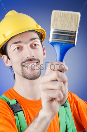 Painter in the studio shooting