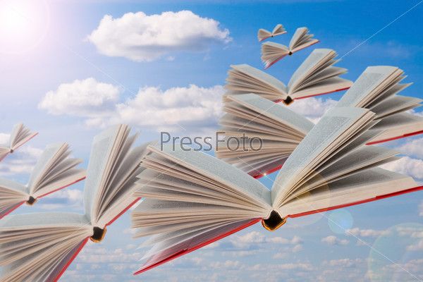 Books are flying