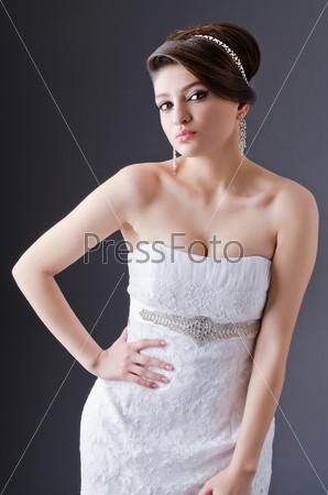 Bride posing in studio shooting