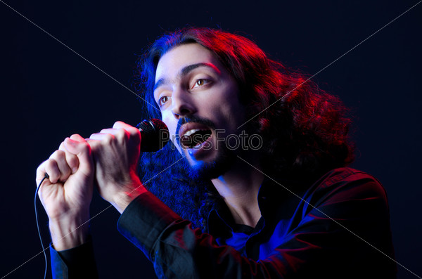 Man singing at the concert