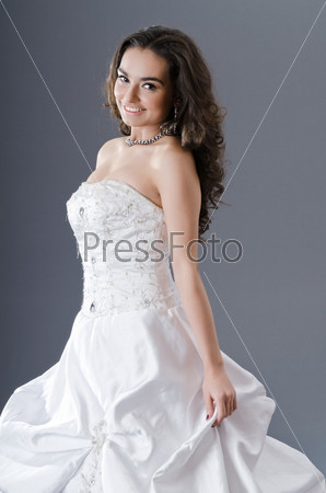 Bride posing in studio shooting