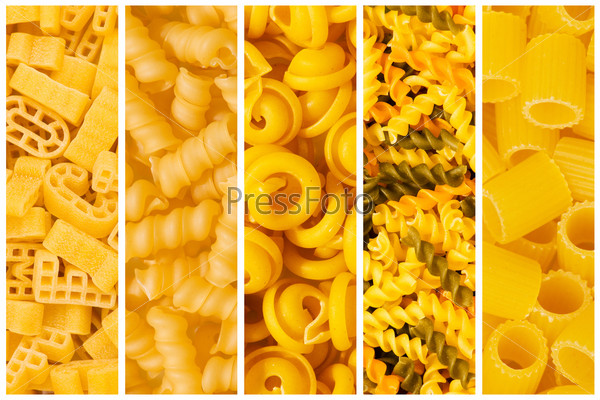 Set of various pasta backgrounds