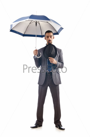 Businessman with umbrella on white