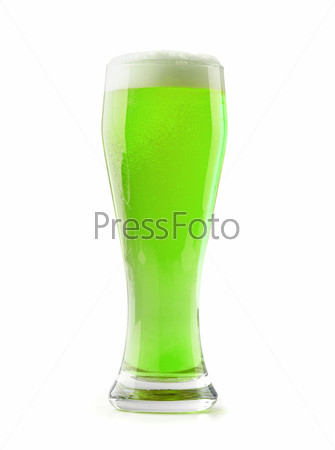 green beer with a foamy head on a white background
