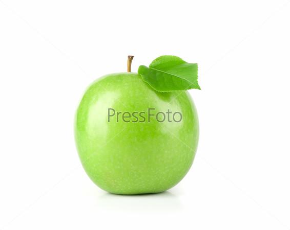 fresh green apple fruit with leaf