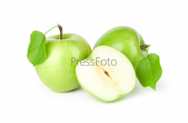 three green apples with leaves