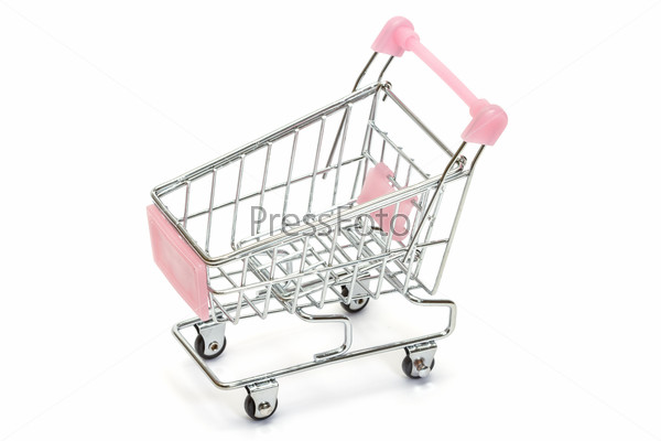 Pink shopping cart on white