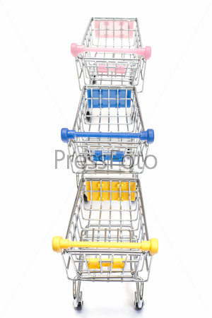 Shopping carts on white