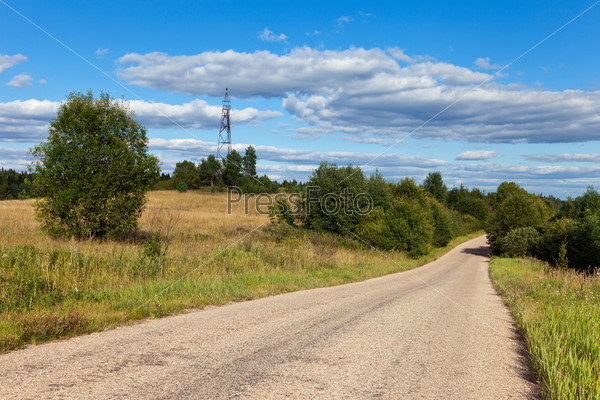 Summer landscape with geodetic points in Russia