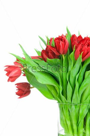 Букет из тюльпанов в вазе на белом фоне