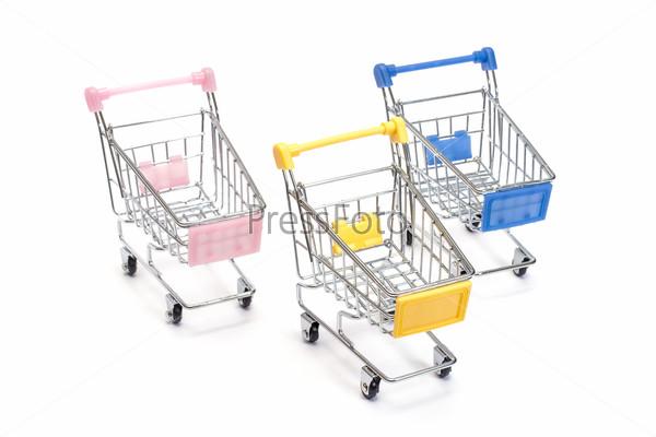 Shopping carts on white