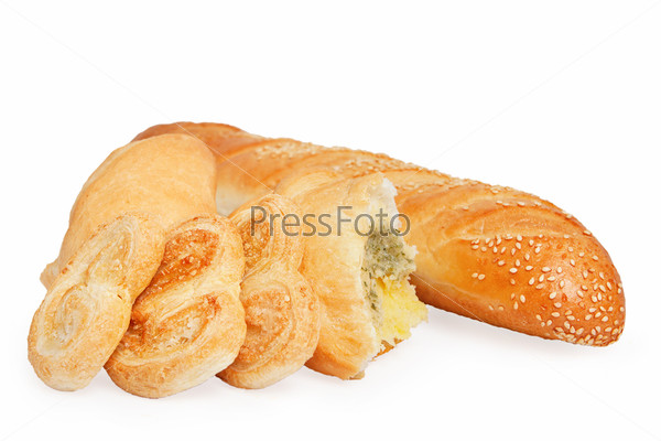 bread, puff cookies and bun with filling