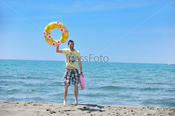 man relax on beach