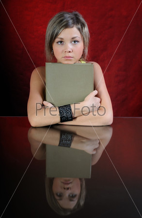 The girl with book.