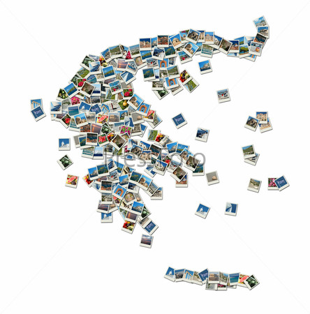 Map of Greece - collage made of travel photos with famous greek