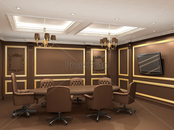 Conference table in royal office interior space. Old styled apar